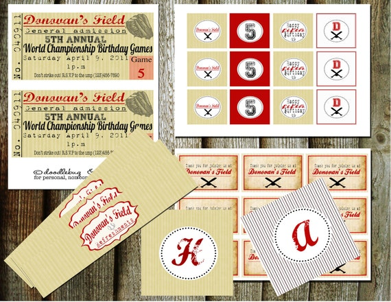 Vintage Inspired Baseball Printable Party Pack-Now offering custom colors