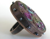 Textile ring brown purple - textile jewelry ooak for order