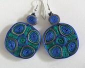 Dangle earrings green blue - Textile jewelry ooak ready to ship