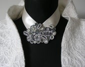 Wedding bib necklace white gray, statement necklace, wedding necklace beaded, bride necklace, gift for woman, gift for her - Textile jewelry