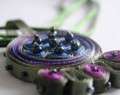 Textile necklace green purple, fiber pendant - Textile jewelry ooak ready to ship