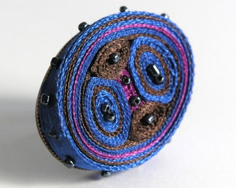 Fabric ring, adjustable ring blue, fiber ring, textile ring beaded, gift for woman, gift fo her - OOAK ready to ship
