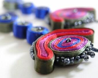 Dangle textile earrings red - Earrings dangle - Textile jewelry ooak ready to ship