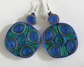 Dangle earrings green blue - Textile jewelry ooak ready to ship