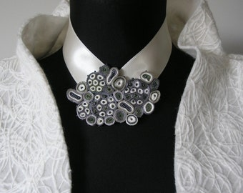 Bib necklace gray white, statement necklace, wedding necklace, gift for woman, gift for her - Textile jewelry OOAK for order