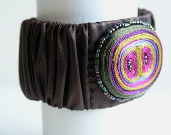 Textile bracelet brown purple, fabric cuff beaded, bracelet brown, cuff, gift for woman, gift for her - Textile jewelry ready to ship