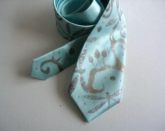 Men necktie turquoise, men neck tie mint, necktie dragonfly design -  Hand painted accessories OOAK for order