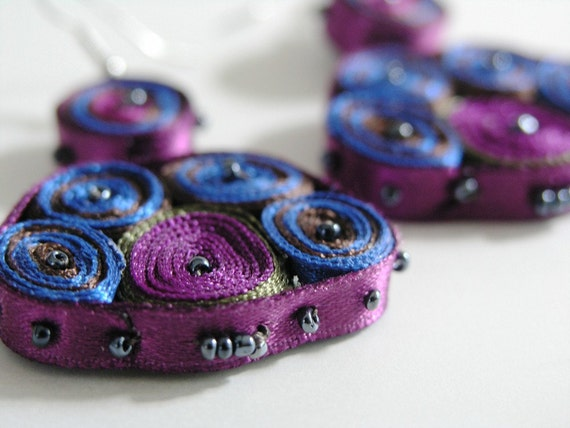 Earrings Purple Blue - Textile Earrings Navy Purple - Fiber Jewelry - OOAK Ready To Ship