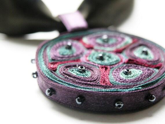Textile necklace purple, statement necklace, fiber pendant - Handmade jewelry OOAK for order