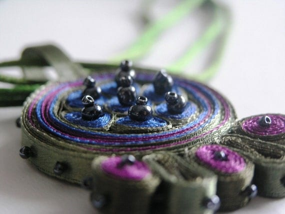 Textile necklace green purple, fiber pendant - Textile jewelry ooak ready to ship