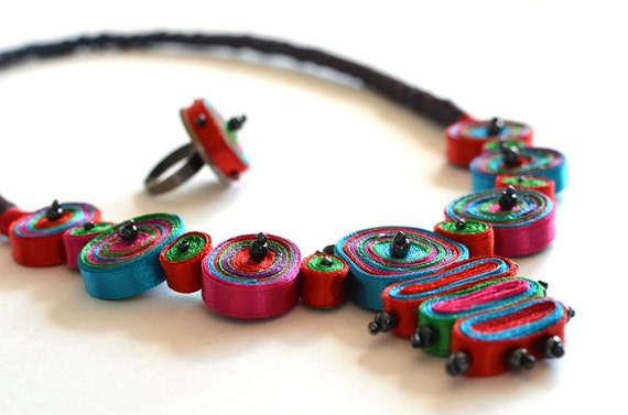 Special Offer Textile Necklace From Sunday Sugar Cubes Collection And Ring One Of A Kind Ready To Ship