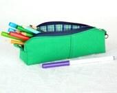 Grass green denim and blue zipper pencil case