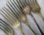 Vintage French SALE 5 Tarnished Forks