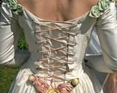 Vintage raw silk Ivory wedding dress BRITISH MADE Medium to Large