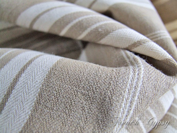 Fabric Vintage French Mattress Ticking Reclaimed Thick Strong
