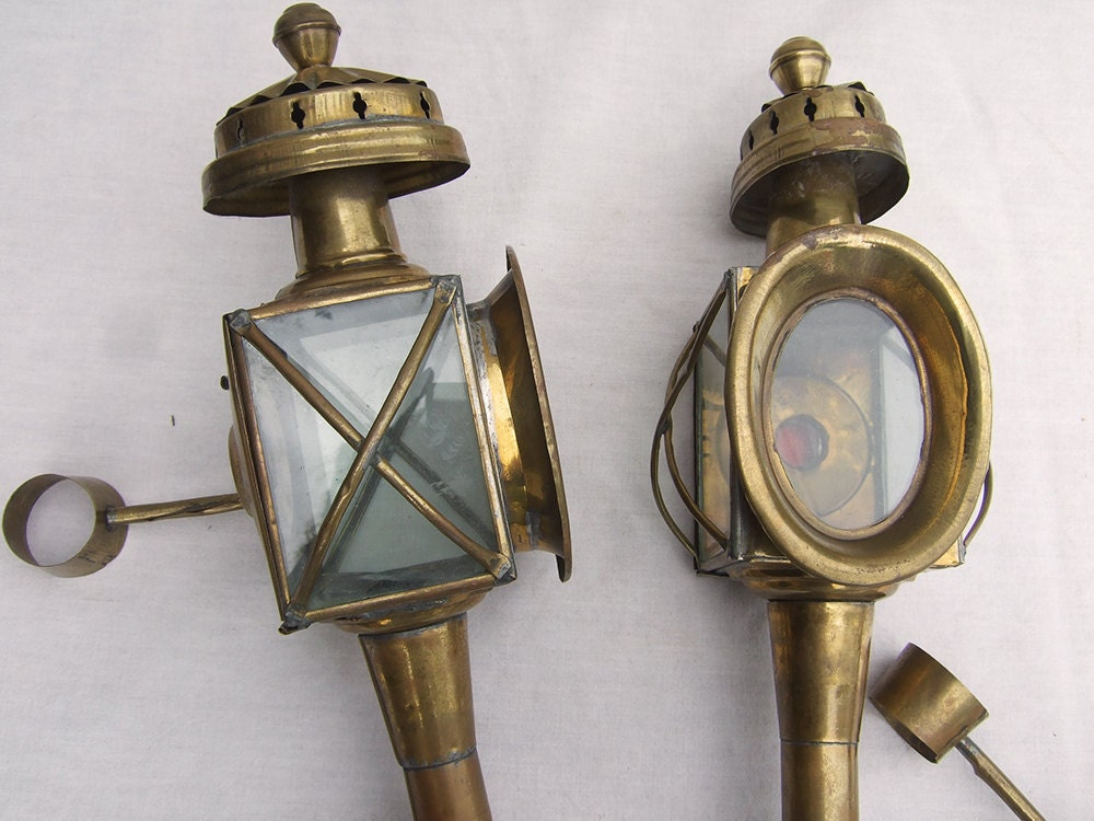 Pair Vintage French Brass Coach Carriage Lamps