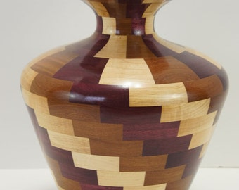 Vase, maple, afromisa, purpleheart