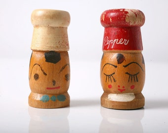 REDUCED PRICE Chef Couple Wooden Vintage Salt and Pepper Shakers