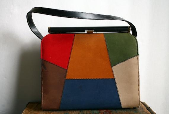 Vintage 1960s Air Step Handbag with Color Patchwork