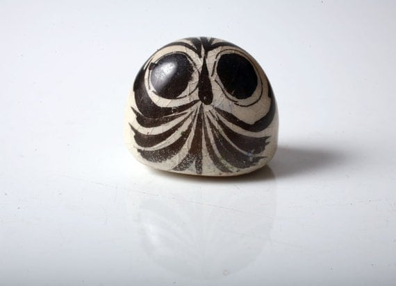Vintage Hand Painted Ceramic Owl Figurine from Mexico