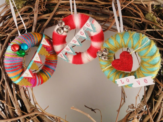 Mini Yarn Wreath Holiday Ornaments- Set of Three- You Choose- Bright Peace, Love, Joy Trio