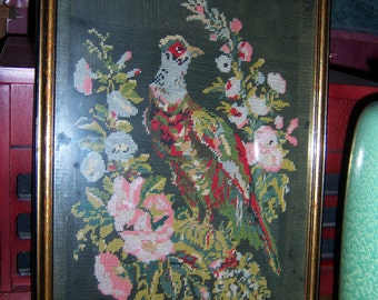 Antique Pheasant Needlepoint Tapestry