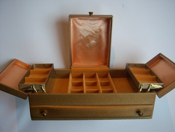 Vintage Lady Buxton Gold Jewelry Box Treasure Chest