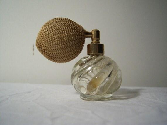 40s Vintage Glass Perfume Bottle Atomizer