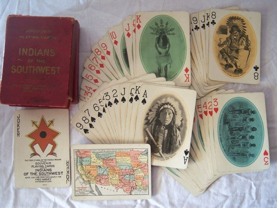 1911 Vintage Fred Harvey Indians of the South West Santa Fe Playing Cards