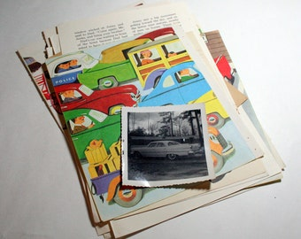 Vintage Ephemera Collage Kit  - Cars