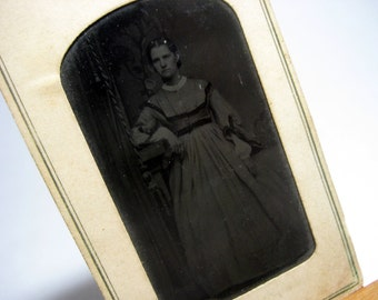 Antique Tintype Photograph - Portrait of a Lady