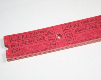25 Vintage Red Staunton Virginia Movie Theater Tickets - Mixed Media Art Collage Supplies