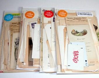 60 Piece Vintage Ephemera Collage Kit