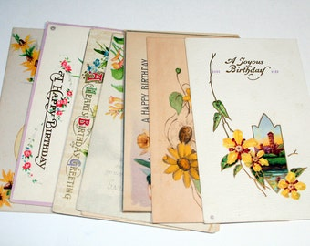 10 Early 1900s Birthday Postcards - Shades of Yellow - Mixed Media, Collage, Art Journal, Scrapbooking, Assemblage Supplies