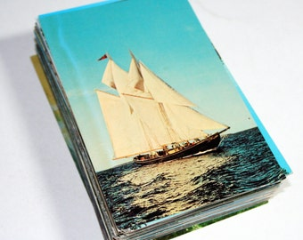 100 Vintage Boat Chrome Postcards Blank - Travel Themed Wedding Guestbook