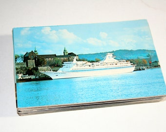 75 Vintage Boat Chrome Postcards Blank - Travel Themed Wedding Guestbook