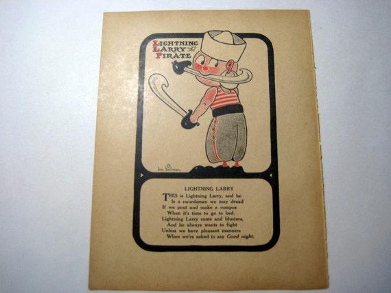 Lightning Larry the Pirate - Antique Print - 1917