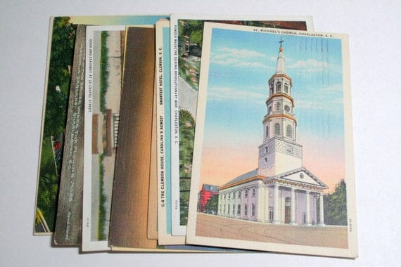 10 Vintage South Carolina Postcards Used