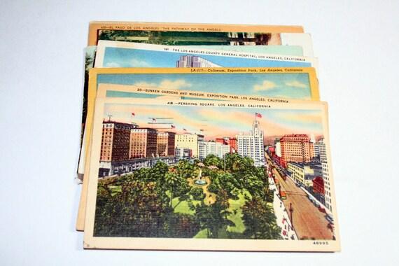 12 Vintage Los Angeles California Postcards Used