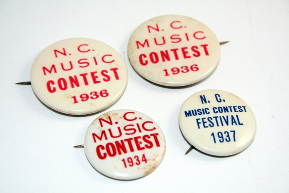 4 NC Music Contest Pins from the 1930s