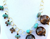 Turquoise Brown Gold Unusual Charm Neclace OOAK Free Shipping