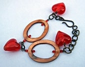Red Glass Hearth Charms Bracelet
