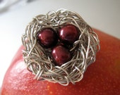 Mothers day gift, Red Brooch Pin with freshwater Deep cherry Red pearls Under 50