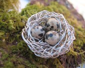 Nature Themed Brooch - dalmatian speckled eggs beads, bird nest brooch pin