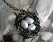 Bird Nest Necklace with freshwater ivory pearls