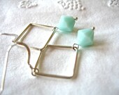 Mint Green Earrings, Swarovski crystals and Sterling Silver Geometric Square Earrings