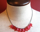 Red maple leaf necklace autumn leaf jewelry - Canadian maple leaf on black chain