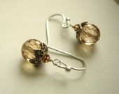 Champagne Quartz Earrings, Holiday SALE, Sterling Silver, Gemstone earrings, Wire Wrapped
