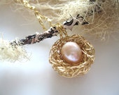 Gold Birds Nest Necklace, mommy jewelry, gifts for mom under 50 ivory opal pearls 14K gold-filled chain, mothers jewelry,  single child