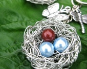 Mother and Child - Three kids Mom Key chain - Birds nest with pearls in blue and red - two sons, one daughter, gifts for mom